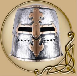 Children Knight Templar Helmet with Hinged Visor, Plastic
